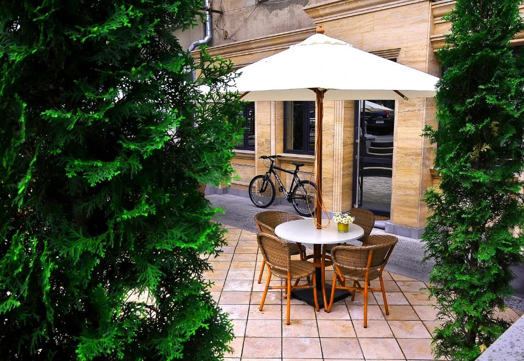 A porch or other outdoor area at MGA Hostel & Tours
