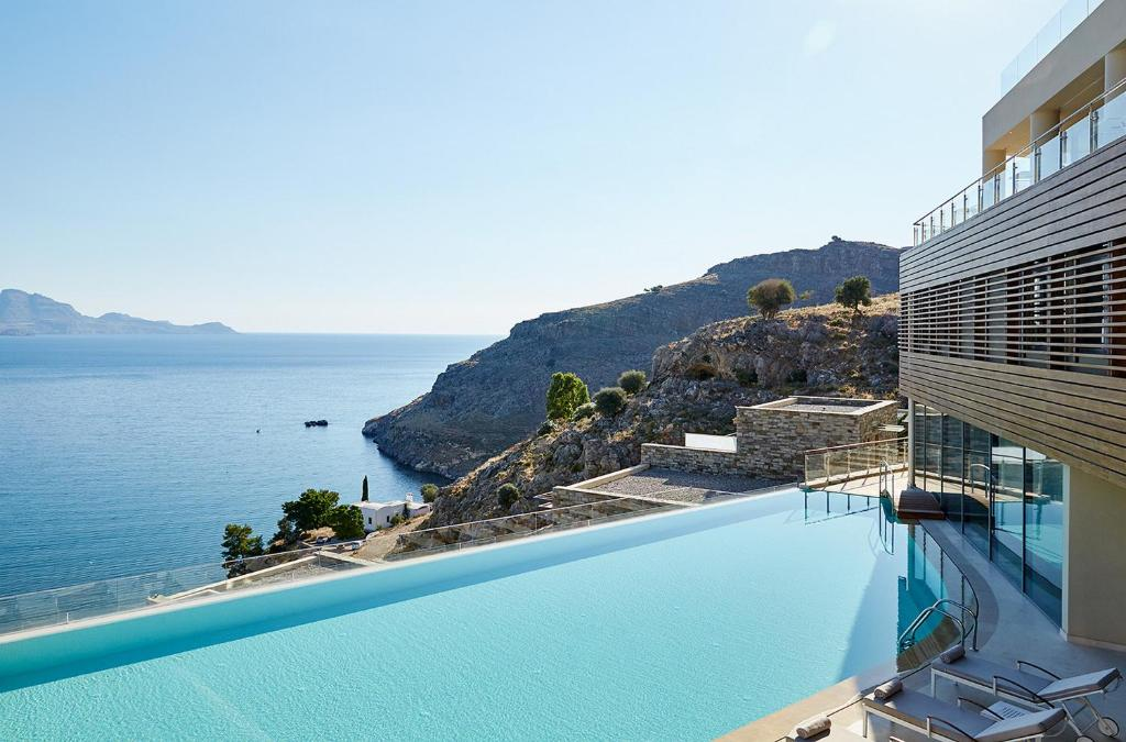 A balcony or terrace at Lindos Blu Luxury Hotel-Adults only
