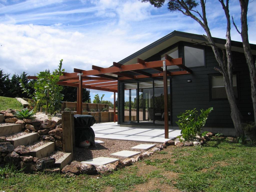 A patio or other outdoor area at Te Whau Ridge Studio