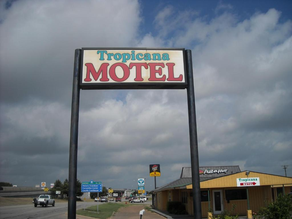 A certificate, award, sign or other document on display at Tropicana Motel Bastrop
