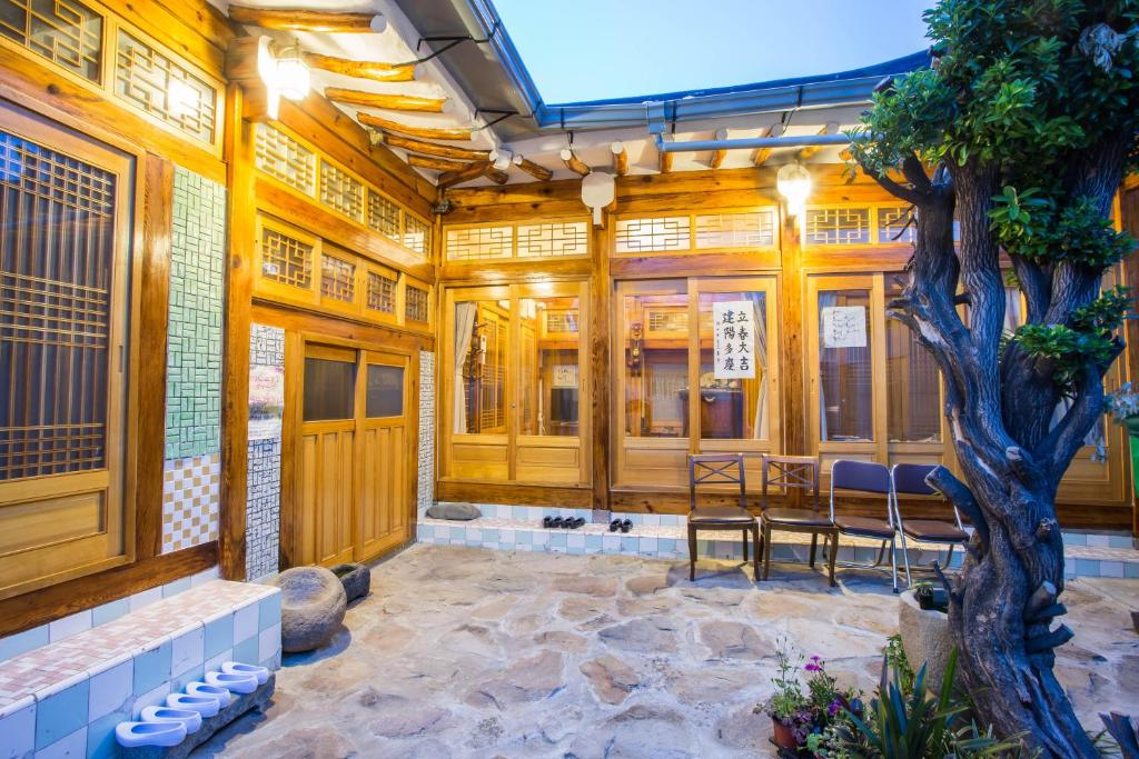A patio or other outdoor area at Aega Hanok Guesthouse