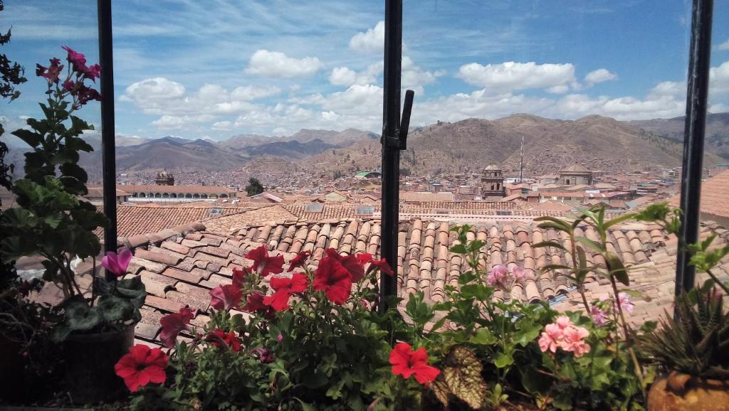 Vista general de Cuzco o vista desde el hostal o pensión