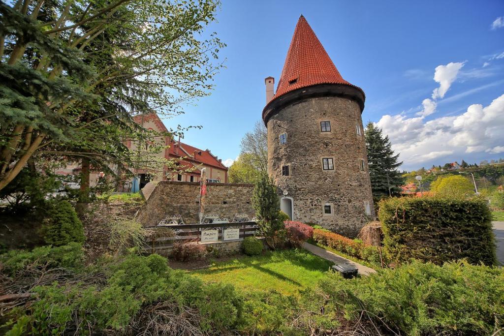 A garden outside Krumlov Tower