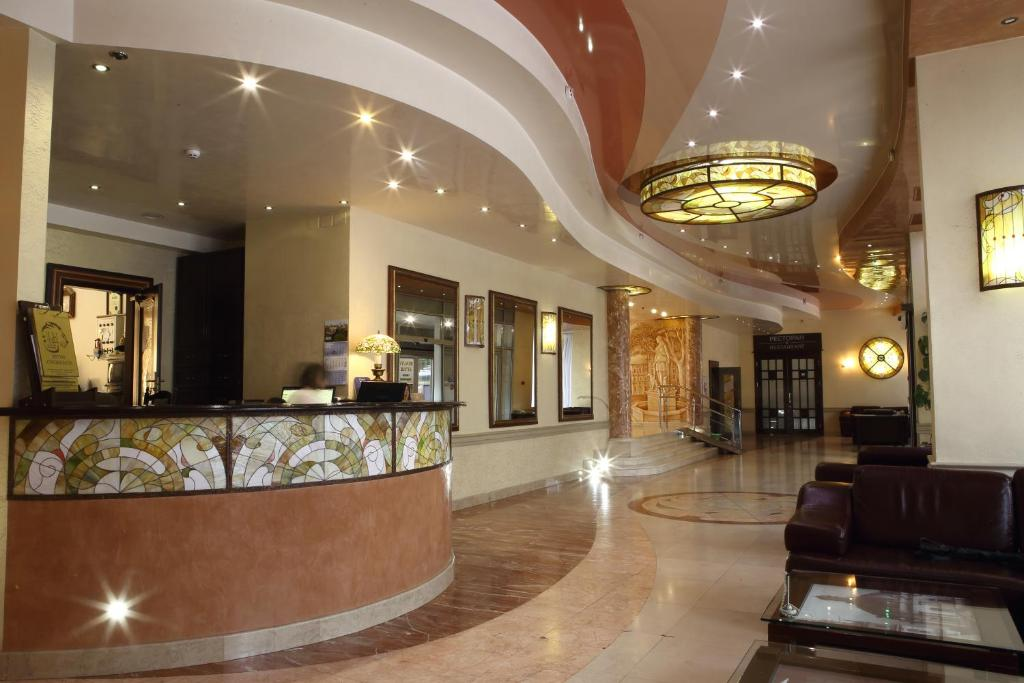 The lobby or reception area at Hotel Lviv