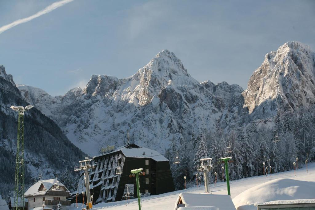 Hotel Alpina during the winter