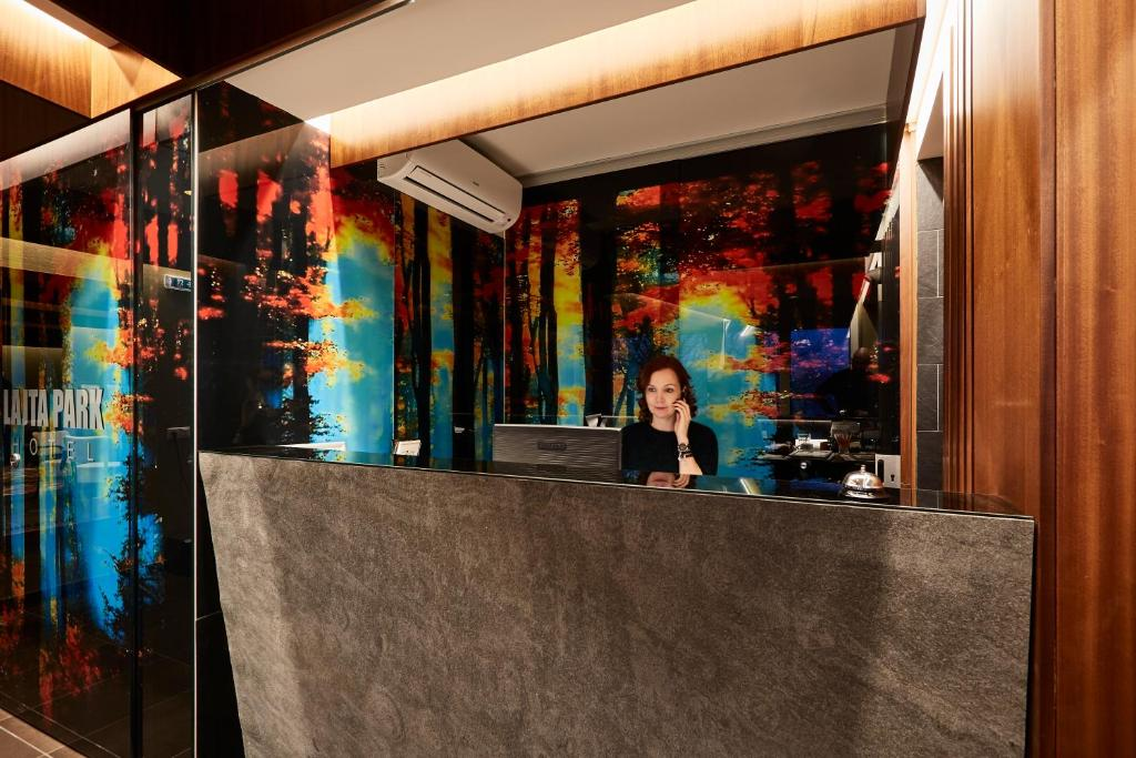 Lobby/Rezeption in der Unterkunft Hotel Lajta Park