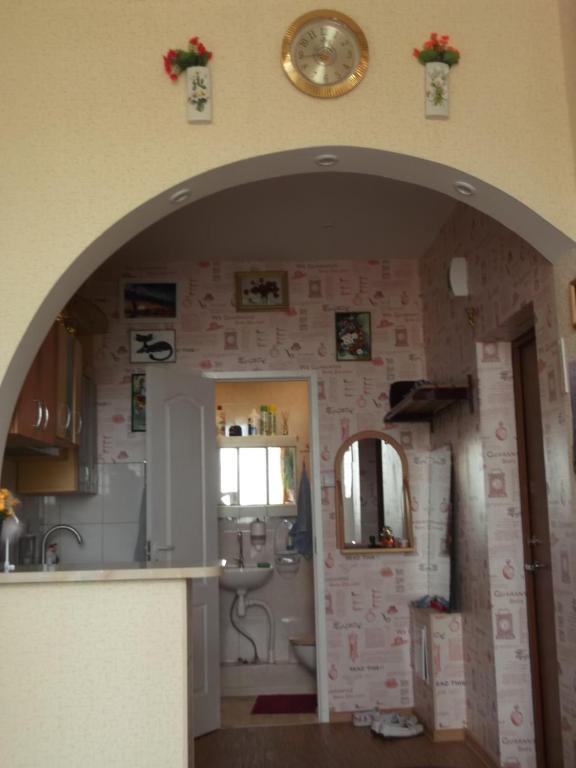 Virtuve vai virtuves aprīkojums naktsmītnē Krāslava City Apartment