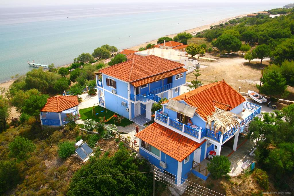A bird's-eye view of Blue House Apartments