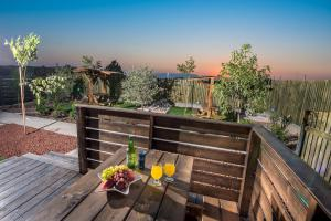 A balcony or terrace at Golan Heights Chalets