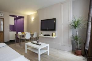 Uma TV ou centro de entretenimento em Le Marais Apartments
