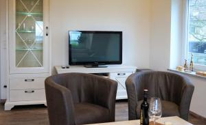 A television and/or entertainment center at BodenSEE Apartment Meckenbeuren Habacht