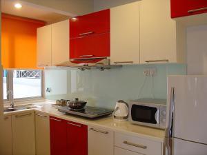 مطبخ أو مطبخ صغير في فندق وسكن دوتا