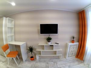 A television and/or entertainment center at Cozy apartment on Сhernyahovskogo 78