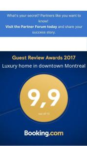 A certificate, award, sign, or other document on display at Luxury home in downtown Montreal