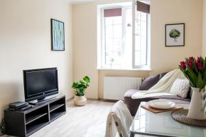 Telewizja i/lub zestaw kina domowego w obiekcie Apartament Ogarna dla 6 osób w Centrum Starówki