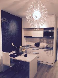 A kitchen or kitchenette at Apartement Blanc de luxe