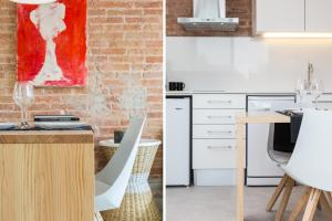 A kitchen or kitchenette at Bright Apartment in Gracia with Terrace