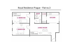 The floor plan of Royal Residence Center Apartment 1