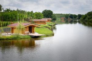 Utsikt mot en innsjø nær chaletet