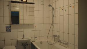 A bathroom at Cozy apartment in Trakai