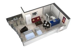 The floor plan of HITrental Allmend Comfort Studios