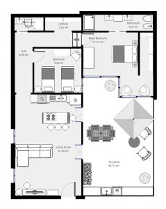 The floor plan of DeCharme apartment with terrace in Monti
