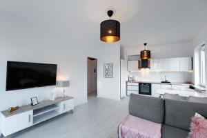 En TV eller et underholdningssystem på Apartament 222 Apartamenty No.1