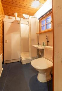 A bathroom at Apartments Kuukkeli Tokka