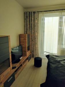 Televízia a/alebo spoločenská miestnosť v ubytovaní Košice Smart Apartmán