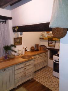 Kuchyňa alebo kuchynka v ubytovaní Tradičná kopaničiarska chalupa na samote u lesa
