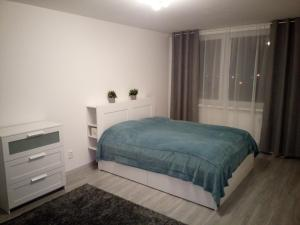 Posteľ alebo postele v izbe v ubytovaní Dvojizbový byt, Levice