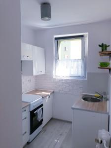 A kitchen or kitchenette at Apartament Wałbrzych