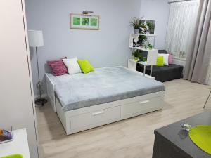 Łóżko lub łóżka w pokoju w obiekcie Kawalerka w kamienicy na Starówce