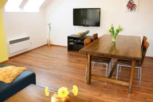 Televízia a/alebo spoločenská miestnosť v ubytovaní Apartmán 44