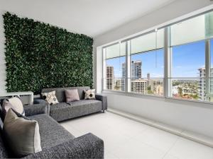 A seating area at Iconic 5 Star Luxury in the Q Surfers Paradise