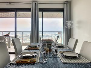 A restaurant or other place to eat at Incredible views of Nice in a calm luxury complex
