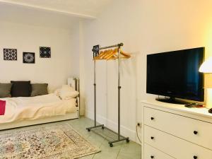 En tv och/eller ett underhållningssystem på City Hideaway with Terrace