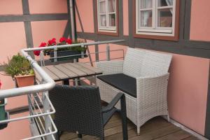 A balcony or terrace at Urlaub im Fachwerk - Klink