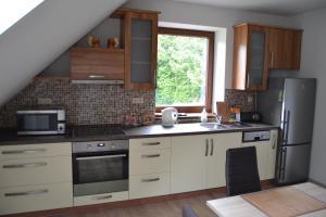 Kuchyň nebo kuchyňský kout v ubytování Apartmán Lipno u vody a cyklostezky