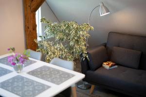 Apartament na poddaszu tesisinde bir oturma alanı