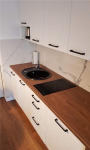 Kuchyň nebo kuchyňský kout v ubytování Apartament Zamkowy