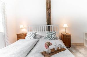 Ein Bett oder Betten in einem Zimmer der Unterkunft Urlaub Holthusen