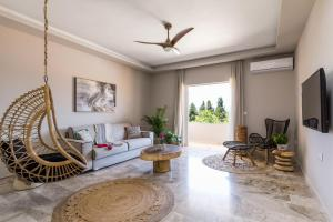 A seating area at Rarakos Houses Corfu