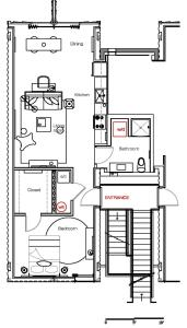 The floor plan of 1BR Converted Cargo Container #303 by WanderJaunt