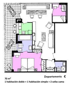 The floor plan of Apartamentos la Nogalera
