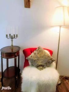 Ein Sitzbereich in der Unterkunft Salzburg Langwied Apartment