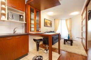Una cocina o zona de cocina en Infinity Apartments Departamentos Amoblados (Santiago Centro)