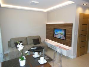 A television and/or entertainment centre at Apartamenty Platinum przy Focusie