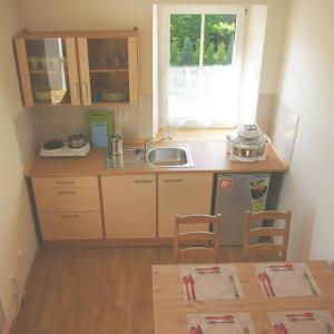 Kuchyň nebo kuchyňský kout v ubytování Apartmány Růžová
