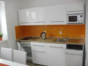 Kuchyň nebo kuchyňský kout v ubytování Apartmán Linda